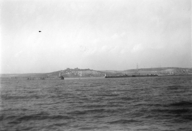 """""""Dover Castle on top of White Clifs of Dover from Gen Taylor. """"Radar"""" towers on right."""