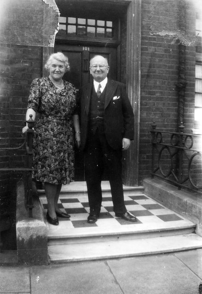 """""""Mr. and Mrs. Henry McMeel, 101 Seymour Place, Bryanston Square W-1, London. Left here 15 Aug 1945 just a year and a week."""
