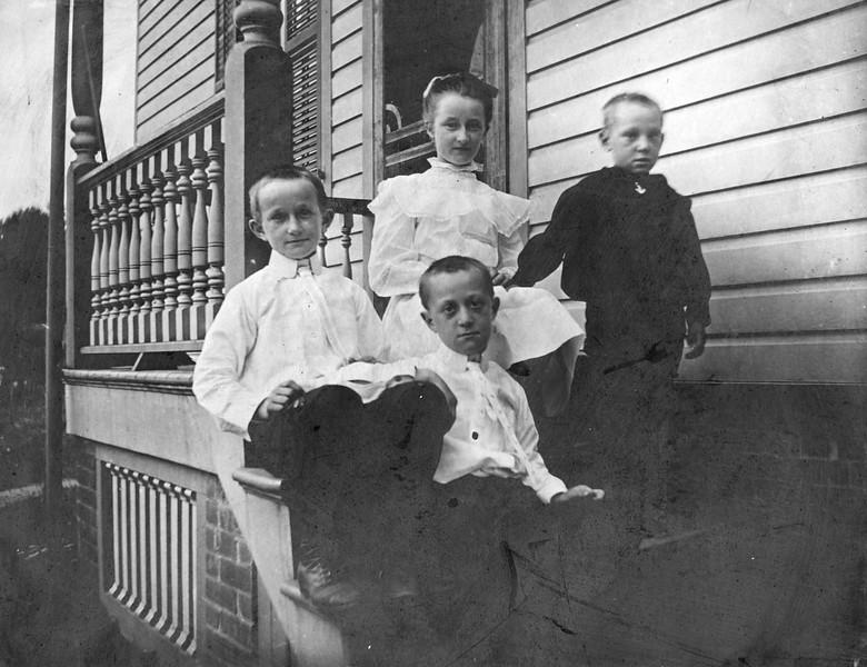"""Trina, Pete, Joe, John - DeVries. About 1905"" Print by Hastings & Miller, 118 Nassau St, NYC."