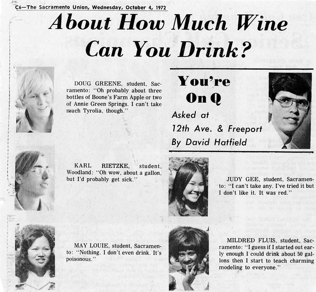 Can You Drink?  Sacramento Union photo.  1972.