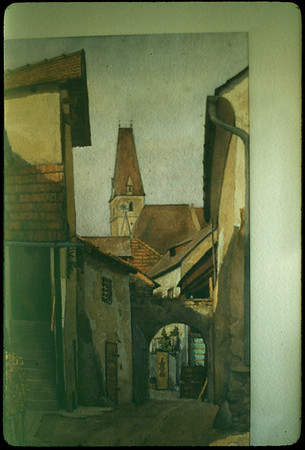 """5/15/1955 """"Watercolor by Helle, German painter: 'Weissenkirchen' Austria on the Danube"""" 35mm Kodachrome slide Mount dated March 1981 (remounted?) Stamped #12"""