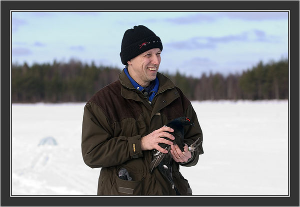 Paul Segersvaerd in action. <br /> <br /> Filming for Grouse documentary, Koskenpää, March 2004