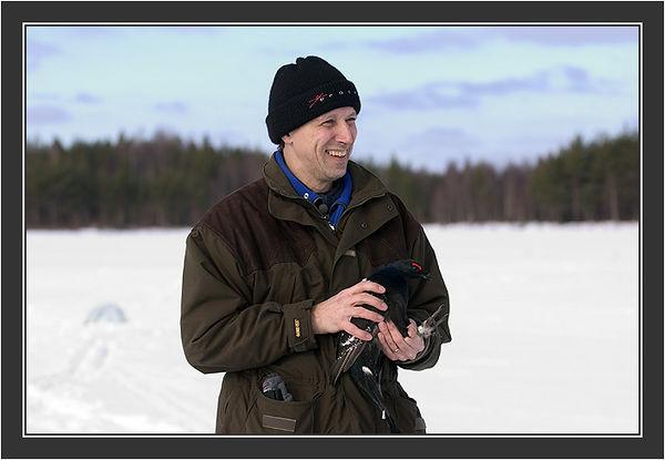 Paul Segersvaerd in action. <br /> <br /> Filming for Grouse documentary, Koskenpää, March 2004
