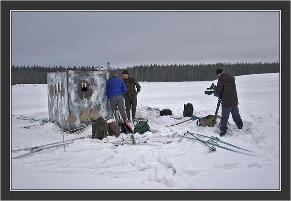 Filming for Grouse documentary, Koskenpää, March 2004