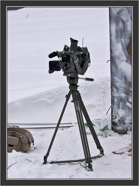Camera ready. <br /> <br /> Filming for Grouse documentary, Koskenpää, March 2004