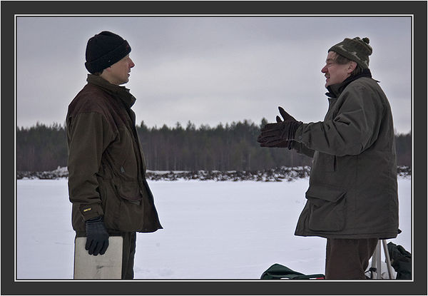 Paul Segersvaerd and Rauno Alatalo. <br /> <br /> Filming for Grouse documentary, Koskenpää, March 2004