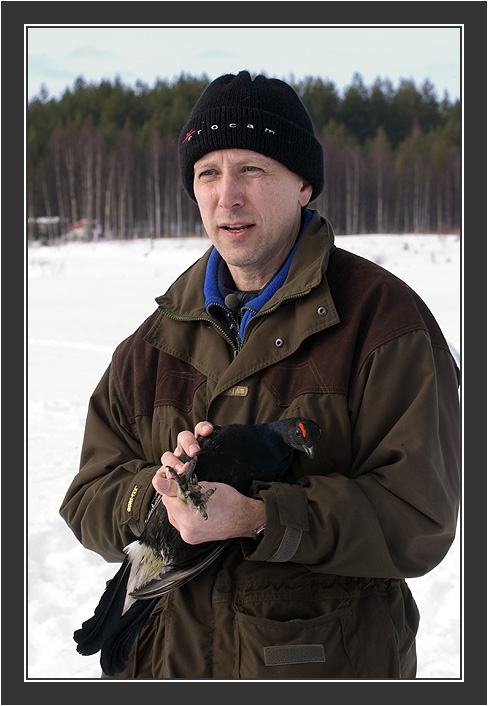 Paul Segersvaerd in action.<br /> <br /> Filming for Grouse documentary, Koskenpää, March 2004