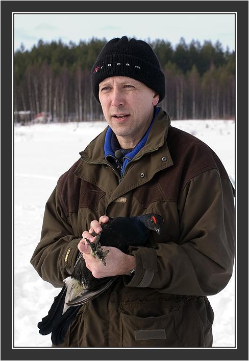 Paul Segersvaerd in action.<br /> <br /> Filming for Grouse documentary, Koskenpää, March 2004