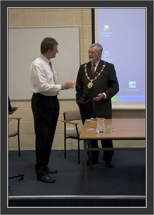 Organizer Ron Plummer and Ruthin's Mayor<br /> <br /> Black Grouse Congress, Ruthin, North Wales, March 2005.