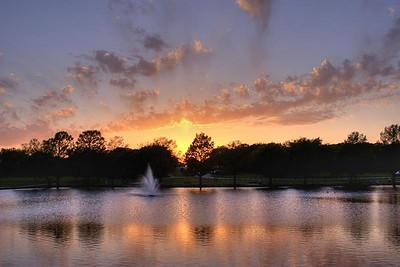 Sunset Over Fountain