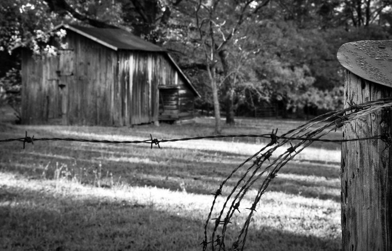 Fence Post View of A Barn In Byram Mississippi