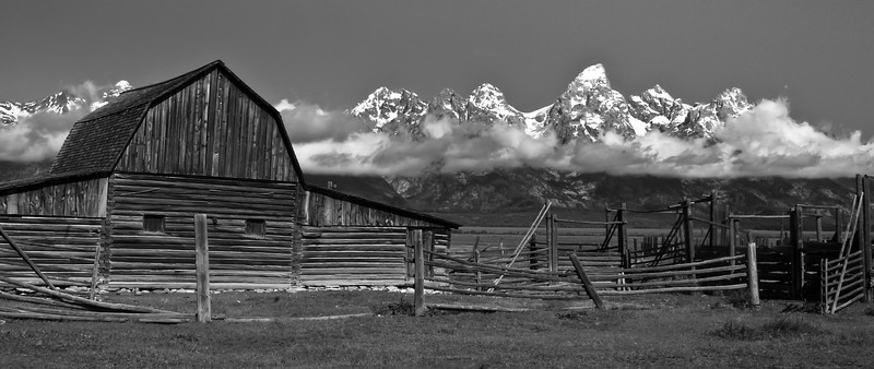 Moulton Barn with the Teton mountains in Grand Teton National Park near Jackson Hole, Wyoming.