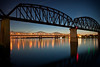 Twilight shot of the Ohio River from the Louisville, Kentucky waterfront.