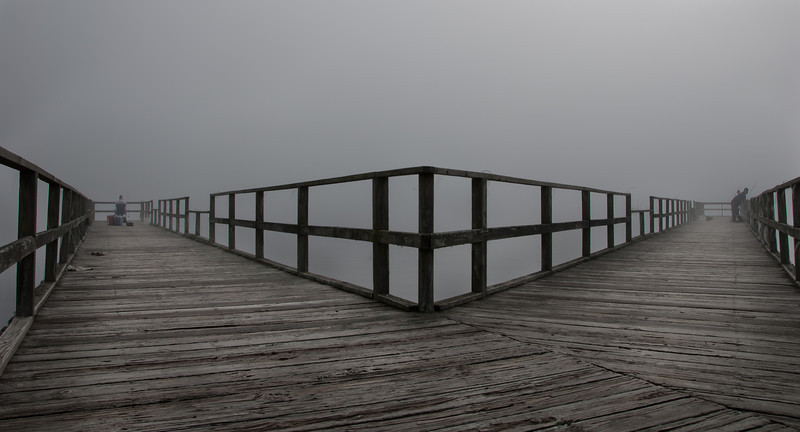 Fishing in the Fog on a Pier