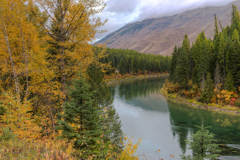 Fall on the Northfork of the Flathead River along the western border of Glacier National Park.