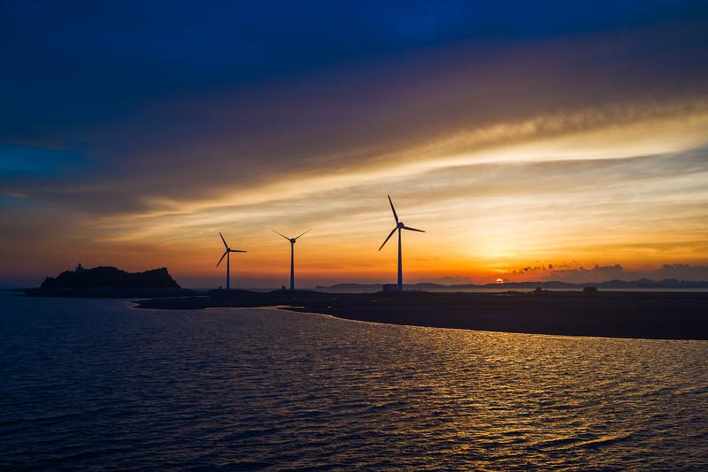 Harbor Turbines at Sunset
