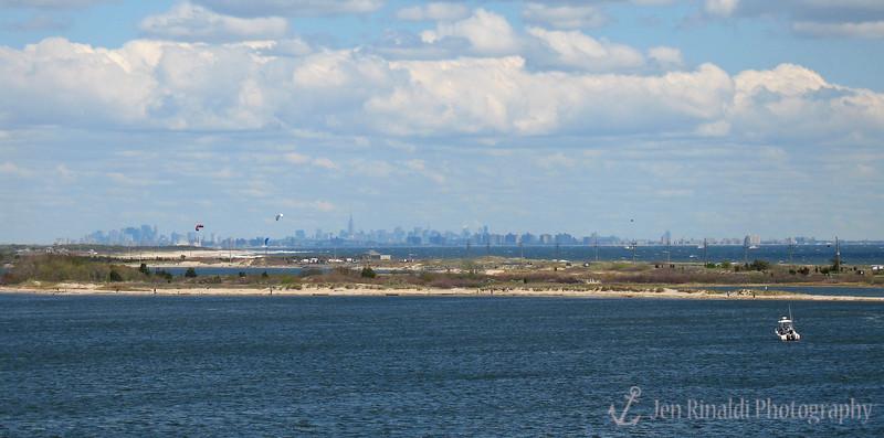 NYC skyline from a bridge over the Shrewsbury River - Highlands, NJ