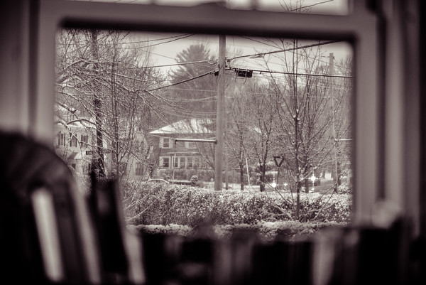 First snow, Dining room window, B&W