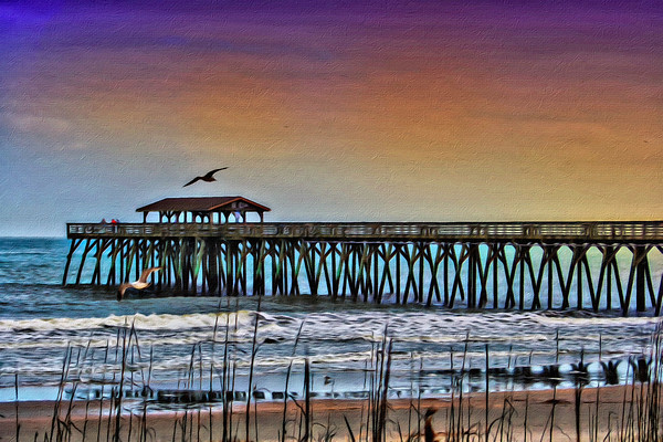 Paint rendition of pier at Myrtle Beach State Park.