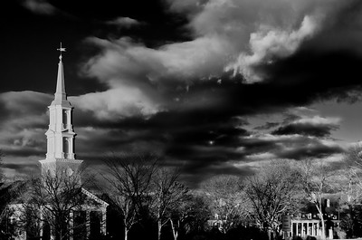 Cochran Chapel, winter afternoon, mono, red filter