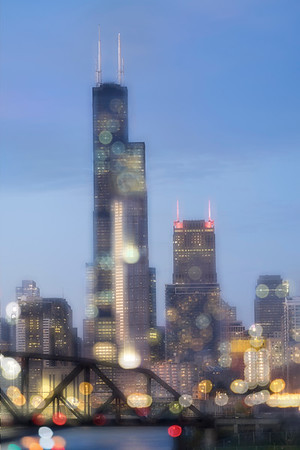 View from the 18th Street bridge - Chicago   (in bokeh)
