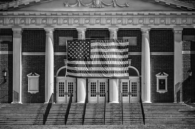 Memorial Building decked out for Memorial Day