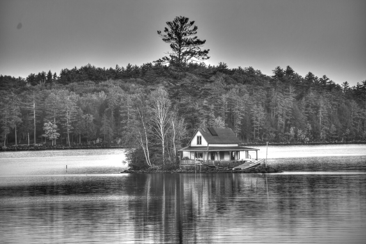 Island House in B&W on Newfound Lake