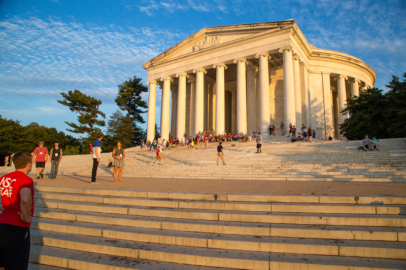 A crowd begins to gather for Kaleab's proposal to Essete at the Thomas Jefferson Memorial in Washington, DC.