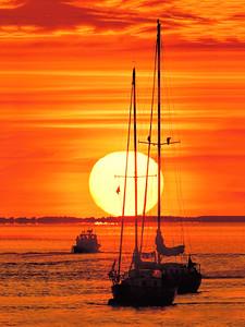 _N140079 Boats on The Merrimack River at Sunrise ~ Newburyport MA