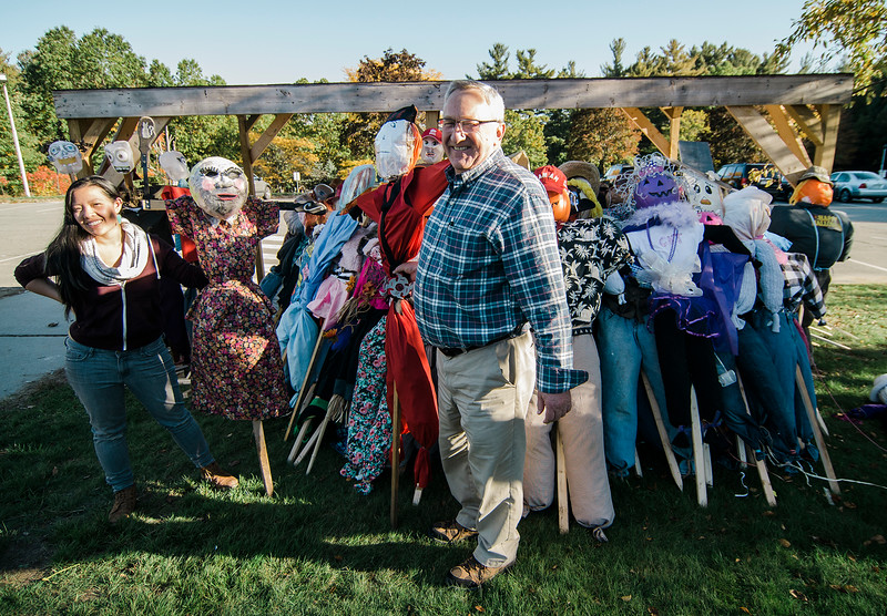 Audrey Chow and Mike Hurley drop off their scarecrows at Crocker Elementary ahead of the event on Saturday afternoon. Crocker Elementary teacher Debbie Jeffries is organizing an attempt at the school to break the Guinness World Record for the largest gathering of scarecrows in one location. Completed scarecrows can be dropped off between 8 a.m. and 9:30 p.m. Saturday at Crocker. SENTINEL & ENTERPRISE / Ashley Green