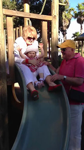 Scarlett and Nanna enjoying a slide at the park after a long lunch at Pilu, Freshwater (September 2013: Age 19 Months)