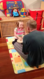 """Scarlett doing the """"Dragon Dance"""" after seeing Chinese New Year Celebrations as daddy plays the bongo drums - 2 years old"""
