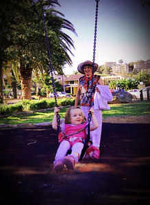 Nanna pushing Scarlett on the swings after lunch at Pilu, Freshwater (September 2013: Age 19 Months)