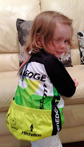 Scarlett's new Greenedge cycling gear... The team's youngest supporter maybe?