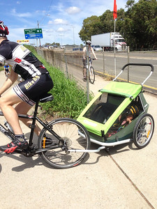 "Scarlett got a ""Croozer"" bicycle trailer for her first birthday... The first test ride was a loop from home around Olympic Park and the Parramatta river - 35km (10th March, 2013)"