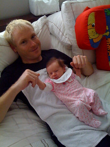 Scarlett awakes on her 2 week birthday wearing Nanna's new clown suit. Thankyou Nanna!