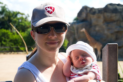 Mummy and Scarlett at the Giraffe - Scarlett's First Trip to the Zoo (5 Weeks Old)