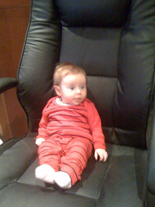Scarlett in the computer chair... 3.5 months old