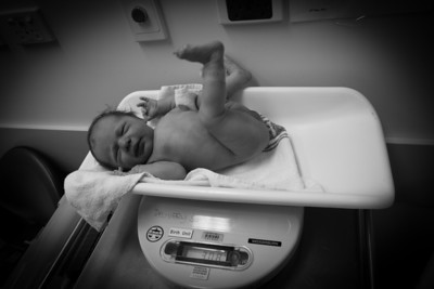 Scarlett Being Weighed After Birth - 3.08kg