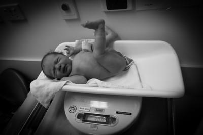 Scarlett Being Weighed After Birth - 3.08kg
