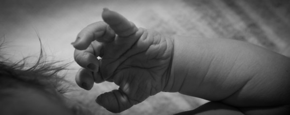 Scarlett's Little Fingers and Hand; Note the Finger Nails! Wrinkled and Grey from the 9 Month Gestation
