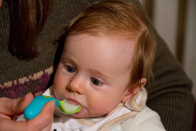 Scarlett's First Attempt to Eat Real Food - Farax and Mummy's Milk (25th June 2012 - 4 Months Old)