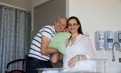David, Scarlett and Margaret - The New Family Being Discharged From Hospital (Scarlett is 3 Days Old)