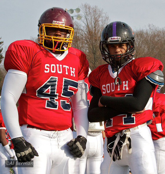 Brandon Berman #86 & Anthony Cugini #11 play on the South team in the New York State Section One All-Star football game played 11/20/11