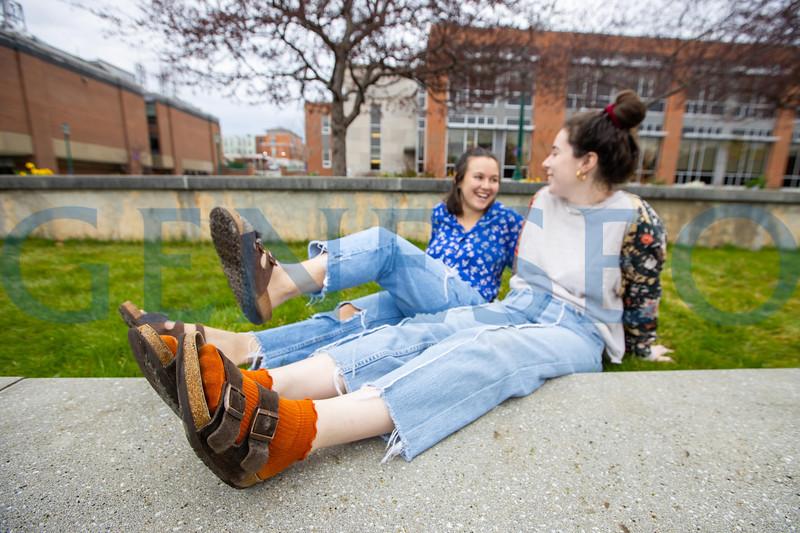 Emma Boskovski '21 (orange socks) and Catherine Gluchowski '21