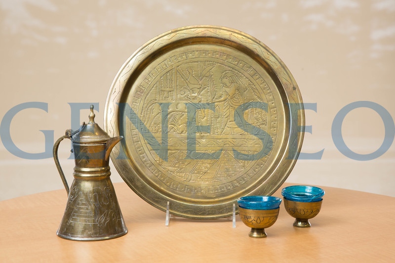 Egypt Gold and Blue Tea Cups and Serving Plate