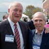 Celebrating the campaign's success at the all-campus luncheon: VP for Advancement Dennis Cross and one of his illustrious predecessors, Farris Hotchkiss '58, who headed W&L's Development Office for more than 30 years.