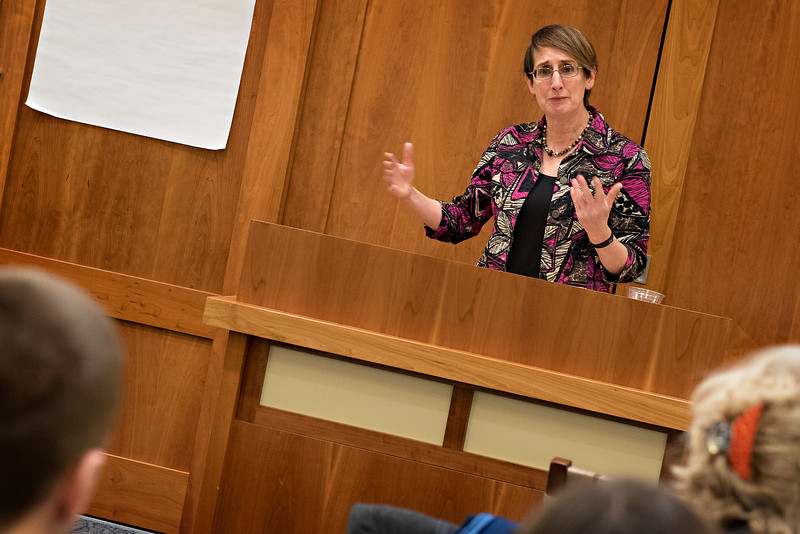 """Katharine Maus, a professor of English from the University of Virginia, lectured on """"Caesar's Will"""" in Hillel House."""