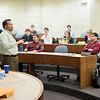 Lawrence Professor of Business Administration Scott Hoover teaches class in Huntley Hall.