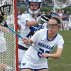 Midfielder Hollis Tardy '17 and Goalie Hannah Wiltshire '18 defending the crease in the 10-3 loss to fifth-ranked Gettysburg.